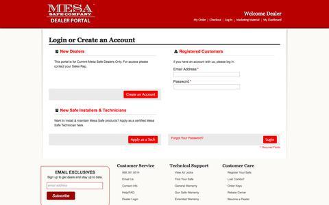Screenshot of Login Page mesasafe.com - Mesa Safe∷Dealer Portal│800.490.5624 Customer Login - captured Oct. 18, 2017