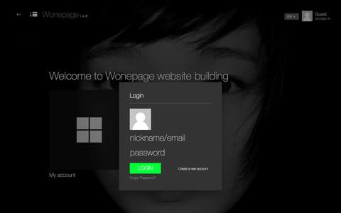 Screenshot of Login Page wonepage.com - Wonepage Start - captured Sept. 20, 2018