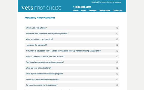 Screenshot of FAQ Page vetsfirstchoice.com - Frequently Asked Questions | Vets First Choice  |  Your Pharmacy. Your Clients. Your Success. - captured Sept. 15, 2014