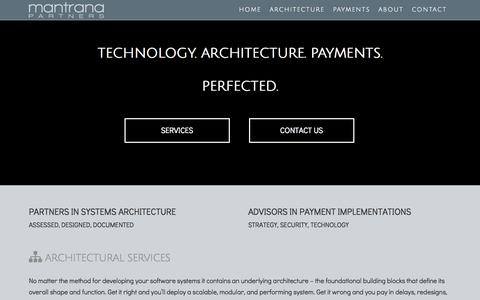 Screenshot of Home Page About Page Contact Page mantranapartners.com - Systems Architecture Payment Services Advisor | Mantrana Partners - captured Sept. 30, 2014