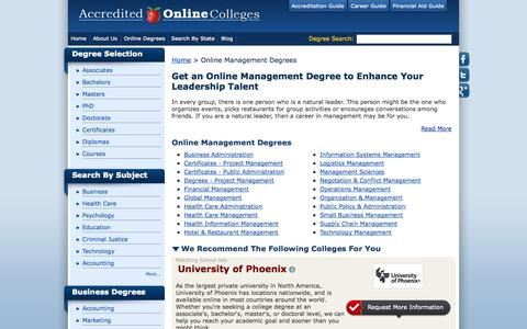 Screenshot of Team Page accredited-online-colleges.com - Online Management Degrees From Accredited Online Colleges - captured Sept. 19, 2014