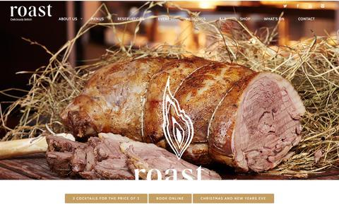 Screenshot of Home Page roast-restaurant.com - Roast Restaurant | Deliciously British - captured Dec. 2, 2015