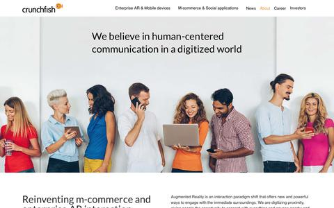 Screenshot of About Page crunchfish.com - Crunchfish reinvents m-commerce and enterprise AR interaction - captured Sept. 29, 2018