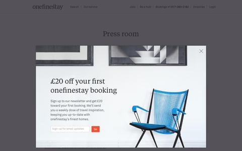 Screenshot of Press Page onefinestay.com - Press room - onefinestay - captured Aug. 28, 2016