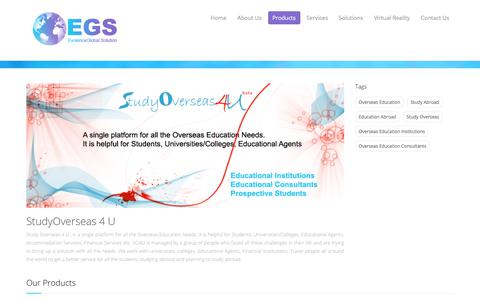 Screenshot of Products Page evolenceglobal.com - EGS custom application, web design and Software Development. - captured Aug. 24, 2017