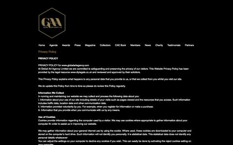 Screenshot of Privacy Page globalartagency.com - Privacy Policy - Global Art Agency - captured Oct. 2, 2014