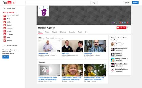 Screenshot of YouTube Page youtube.com - Balcom Agency  - YouTube - captured Oct. 23, 2014