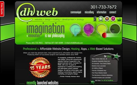 Screenshot of Home Page dhwebsites.com - DH WEB Design : Website Hosting : Apps - Hagerstown, MD - captured Oct. 4, 2014