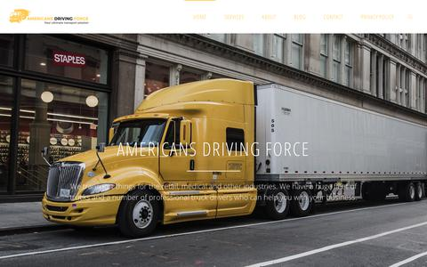 Screenshot of Home Page americasdrivingforce.com - Americas Driving Force - CDL Training, License and Transport Services - captured July 29, 2018