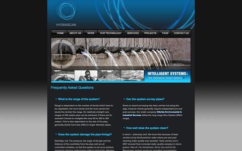 Screenshot of FAQ Page hydrascan.co.uk - Hydrascan - Faqs - captured Oct. 3, 2014