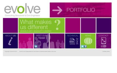 Screenshot of Home Page evolveuk.biz - Evolve - Consulting Structural and Civil Engineers - captured Oct. 3, 2014