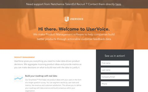Screenshot of Landing Page uservoice.com - Powered By UserVoice - captured Aug. 3, 2018