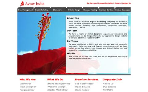 Screenshot of About Page avowindia.com - Website Design Company, Kolkata Website Design Company, Best Website Design Company, Kolkata Website Design Consultants - captured Oct. 24, 2018
