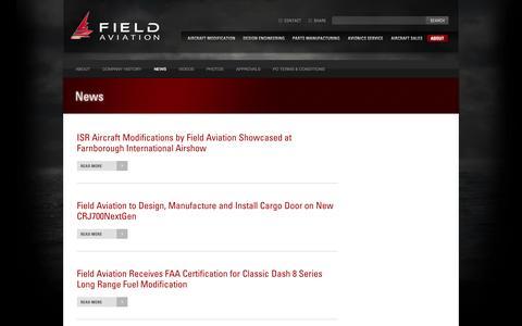 Screenshot of Press Page fieldav.com - Field Aviation: News - captured Oct. 5, 2014