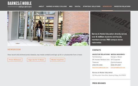 Screenshot of Press Page bned.com - Newsroom - Barnes & Noble Education - captured Nov. 2, 2018