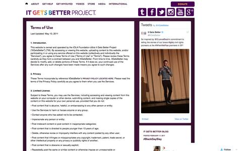 Screenshot of Terms Page itgetsbetter.org - Terms of Use | It Gets Better Project | Give hope to LGBT youth - captured Feb. 21, 2017