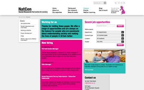Screenshot of Jobs Page natcen.ac.uk captured Oct. 7, 2014