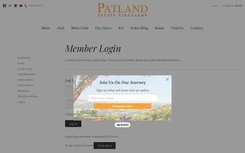 Screenshot of Login Page patlandvineyards.com - Patland Estate Vineyards - Members - Login - captured June 12, 2019