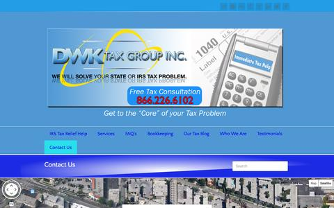 Screenshot of Contact Page dwktaxgroup.com - DWK Tax Group Contact Us - DWK Tax Group - captured Oct. 5, 2014