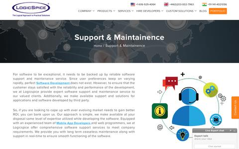 Screenshot of Support Page logicspice.com - Software Maintenance and Support Services - Logicspice - captured Dec. 6, 2017