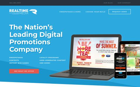 Screenshot of Home Page rtm.com - Realtime Media | Digital Promotions & Sweepstakes Company - captured Feb. 21, 2018