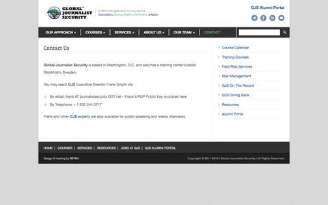 Screenshot of Contact Page journalistsecurity.net - Contact Us - Global Journalist Security - captured Jan. 29, 2016