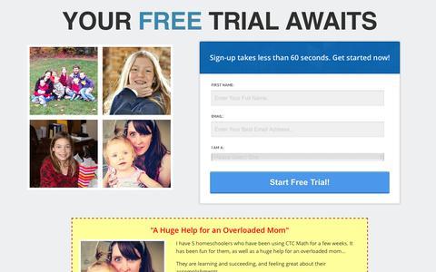 Screenshot of Trial Page ctcmath.com - Free Trial - ctcmath.com - captured Feb. 8, 2016