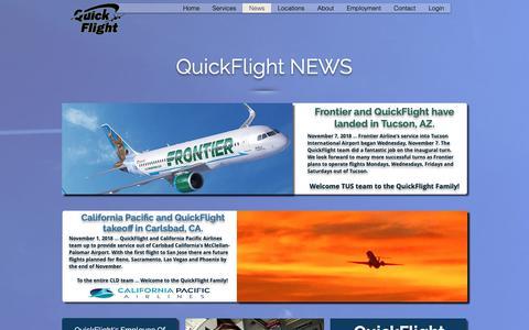 Screenshot of Press Page myqfservices.com - QuickFlight | News - captured Nov. 11, 2018