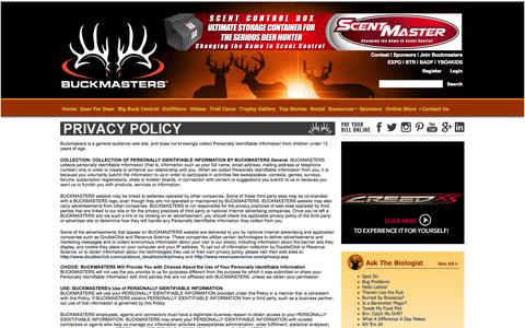 Screenshot of Privacy Page buckmasters.com - Buckmasters > Contact Us > Privacy Policy - captured Sept. 23, 2014