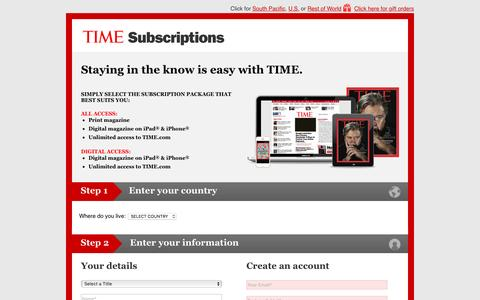 Screenshot of Landing Page time.com - TIME Asia subscription - captured Feb. 8, 2017