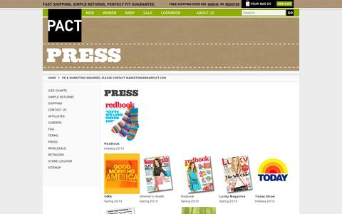 Screenshot of Press Page wearpact.com - PR & Marketing Inquiries, Please Contact marketing@wearpact.com - captured July 19, 2014