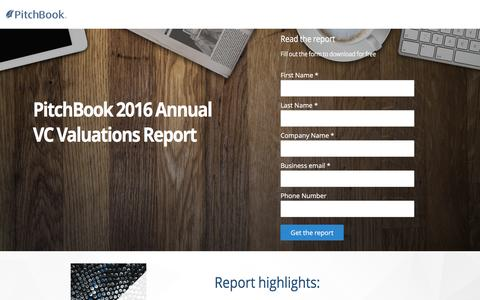 Screenshot of Landing Page pitchbook.com - PitchBook 2016 Annual VC Valuations Report - captured April 20, 2017