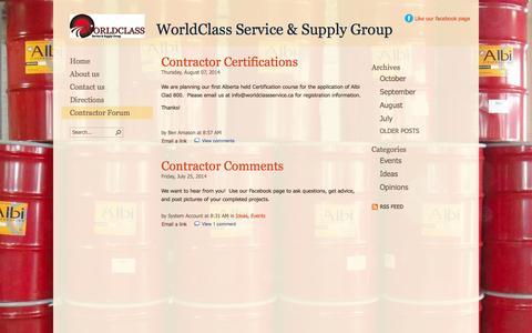 Screenshot of Blog worldclassservice.ca - Blog - captured Oct. 7, 2014