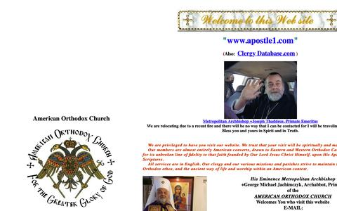 Screenshot of Home Page apostle1.com - Voice of American Orthodox Catholic Christianity Welcomes You - captured Oct. 26, 2018