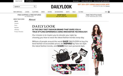 Screenshot of About Page dailylook.com - About - captured Sept. 12, 2014
