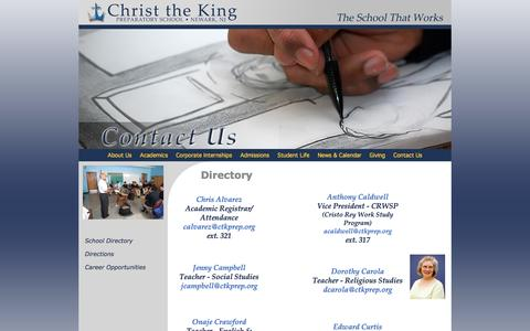 Screenshot of Contact Page ctkprep.org - Directory - Christ the King Prep, Newark's Cristo Rey School - captured Jan. 28, 2016