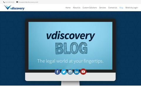 Screenshot of Blog vdiscovery.com - vdiscovery blog - The legal world at your fingertips. - captured Nov. 7, 2018