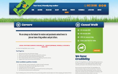 Screenshot of Jobs Page spotdogwalk.com.au - Careers - One-on-One Dog Walks   Dog Walking Brisbane > Spot Dog WalkerSpot The Dog Walker - captured Oct. 7, 2014