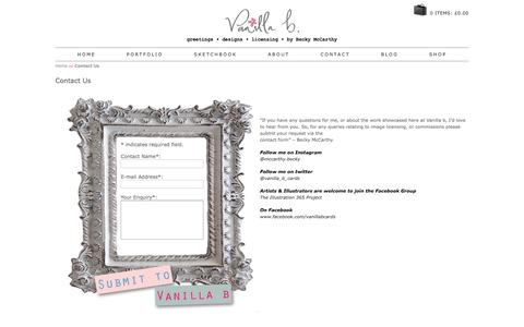 Screenshot of Contact Page vanillab.co.uk - Contact Us to become a Stockist or for General Enquiries - Vanilla b - captured June 11, 2017