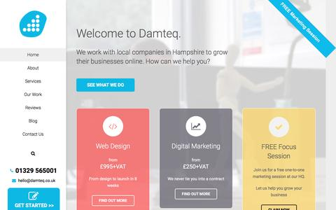 Screenshot of Home Page damteq.co.uk - Web Design Company | Digital Marketing Agency Hampshire - captured March 19, 2016