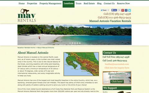 Screenshot of Locations Page manuelantoniovacationrentals.com - About Manuel Antonio | Manuel Antonio Rentals - captured Sept. 30, 2014