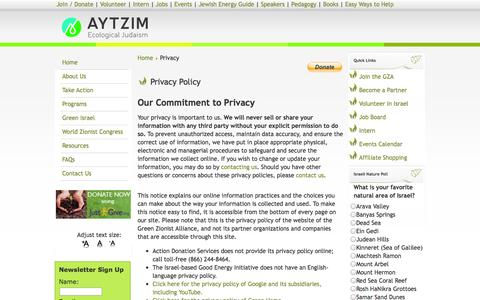 Screenshot of Privacy Page aytzim.org - Privacy Policy — Green Zionist Alliance: The Grassroots Campaign for a Sustainable Israel - captured Nov. 2, 2014
