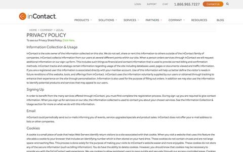 Screenshot of Privacy Page incontact.com - Privacy Policy - captured Dec. 13, 2016