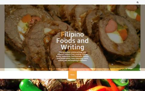 Screenshot of Home Page filipino-foods-and-writing.blogspot.com - Filipino Foods and Writing - captured Sept. 14, 2016