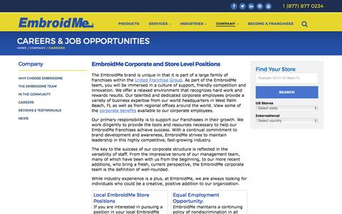 Screenshot of Jobs Page embroidme.com - Custom uniforms, Logo t shirt,Careers, Job Opportunities | EmbroidMe - captured July 13, 2016