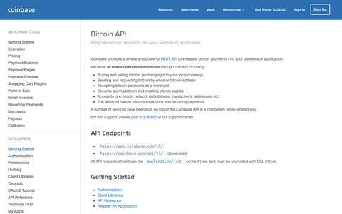 Screenshot of Developers Page coinbase.com - Bitcoin API - Coinbase - captured Dec. 16, 2014
