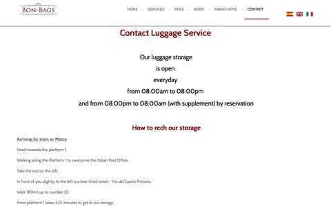 Screenshot of Contact Page bon-bags.com - Contact Transport Luggage - Bon-Bags - captured Sept. 3, 2016