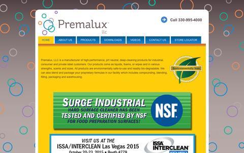 Screenshot of Home Page premalux.com - Premalux, LLC - captured Sept. 19, 2015