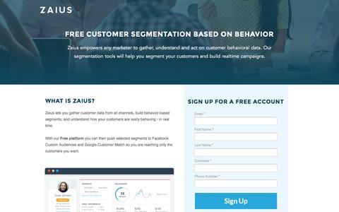 Screenshot of Landing Page zaius.com - Behavioral Marketing Segmentation | Zaius - captured May 31, 2016