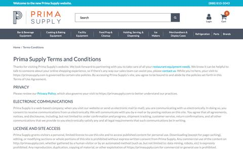 Screenshot of Terms Page primasupply.com - Terms & Conditions  - Prima Supply - captured Nov. 5, 2018